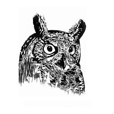 Painter Mixed Media - Owl 002 by John Warren OAKES