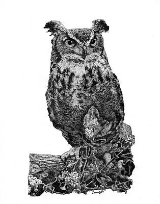 Stipple Owl Drawing - Owl 1 by David Doucot