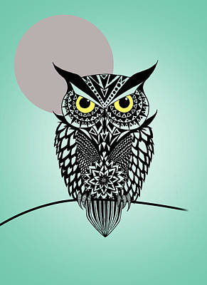 Owl Digital Art - Owl 5 by Mark Ashkenazi