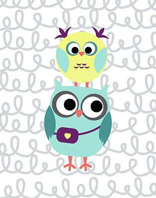 Nursery Painting - Owl 5 by Tamara Robinson