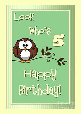 Digital Art - Owl 5th Birthday by JH Designs