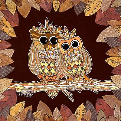 Sepia Ink Mixed Media - Owl Always Love You by Lisa Frances Judd