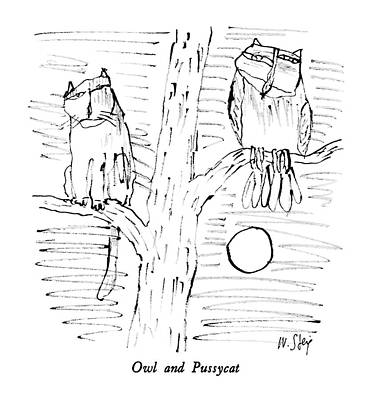 Owl Drawing - Owl And Pussycat by William Steig
