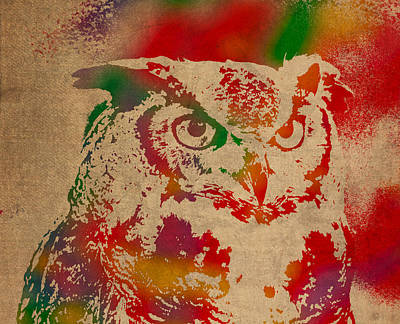 Owl Animal Watercolor Portrait On Worn Canvas Art Print