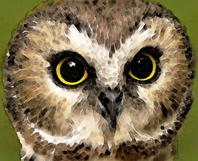 Owl Art - Night Vision Print by Sharon Cummings
