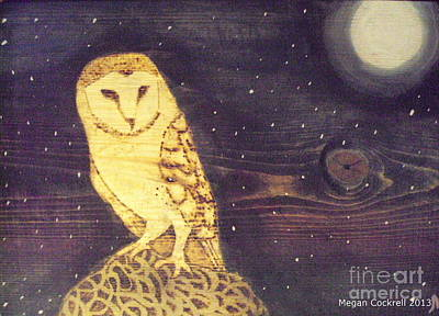 Owl At Midnight Art Print by Megan Cockrell