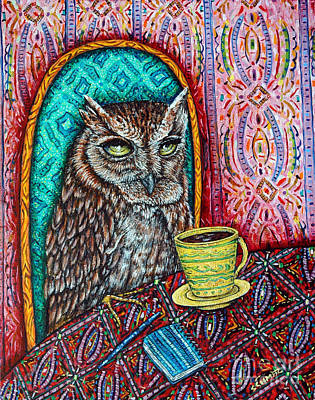 Owl At The Cafe Art Print by Jay  Schmetz