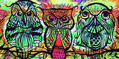 Psychadelic Painting - Owl B Watching by Lorinda Fore and Tony Lima