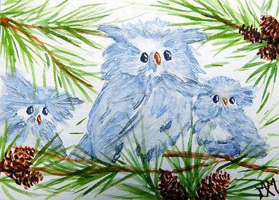 Painting - Owl Babies by Monique Morin Matson