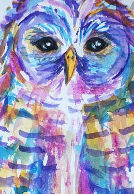 Visionary Art Painting - Owl-barred Owl-rainbow-close Crop by Ellen Levinson