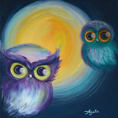 Art Print featuring the painting Owl Be Watching You by Agata Lindquist