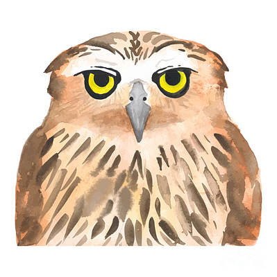 Hover Wall Art - Digital Art - Owl Bird. Watercolor, Vector by Evgeniy Agarkov