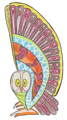 Drawing - Owl by Brian Fuchs