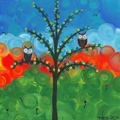 Painting - Owl Couples - 01 by MiMi  Stirn