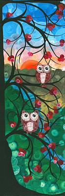 Painting - Owl Couples - 03 by MiMi  Stirn