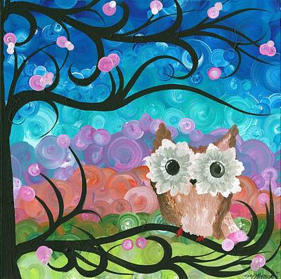 Painting - Owl Expressions - 01 by MiMi  Stirn