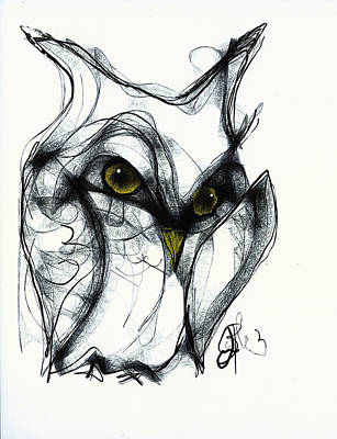 Drawing - Owl Eyes  by Jon Baldwin  Art