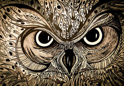 Drawing - Owl Eyes by Nathan Newman