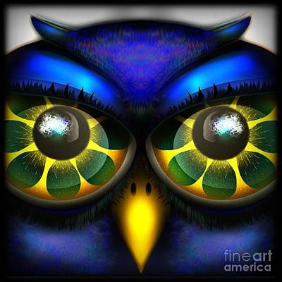 Digital Art - Owl Face by J Kinion
