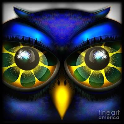 Digital Art - Owl Face by J Kinion