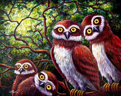 Painting - Owl Family by Sebastian Pierre
