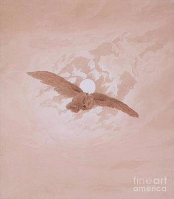 Fauna Painting - Owl Flying Against The Moon by Pg Reproductions