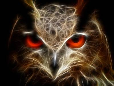 Owl - Fractal Artwork Art Print by Lilia D