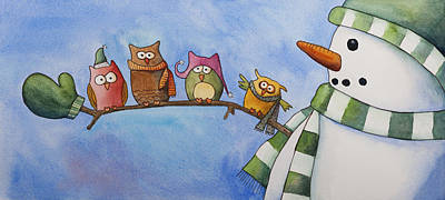 Painting - Owl Friends by Kerrie  Hubbard