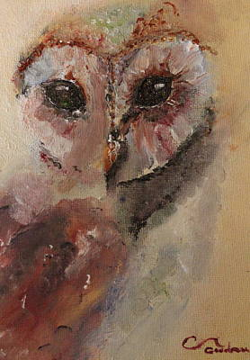 Abstract Owl Painting - owl by Genny Goodman