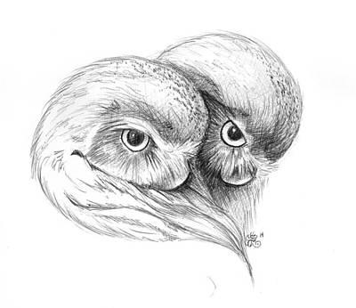 Drawing - Owl Hearts by Scarlett Royal