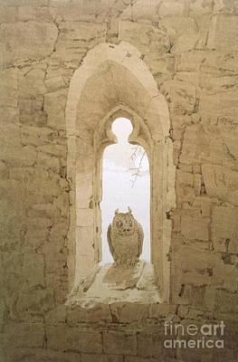 Fauna Painting - Owl In A Gothic Window by Pg Reproductions
