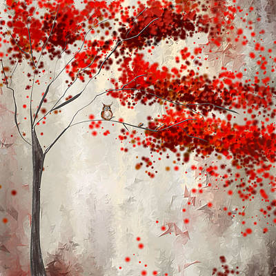 Red Maple Trees Painting - Owl In Autumn by Lourry Legarde