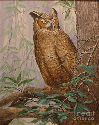Painting - Owl In Forest by Perrys Fine Art