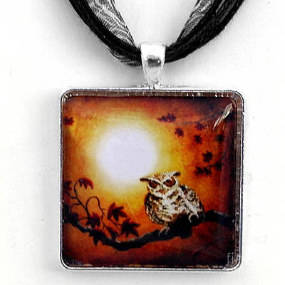 Maple Leaf Art Jewelry - Owl In Maple Leaves Pendant by Laura Iverson