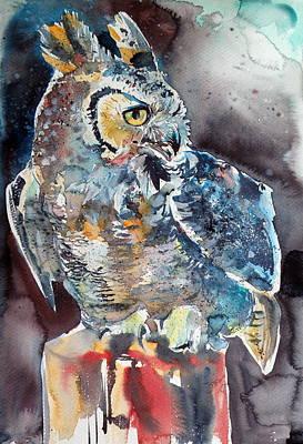 Great-horned Owls Painting - Owl At Night by Kovacs Anna Brigitta