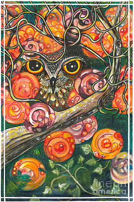 Owl In Orange Blossoms Art Print by M E Wood