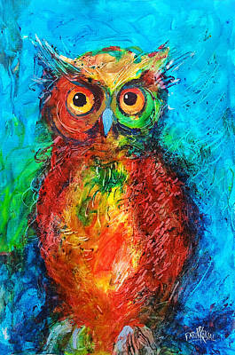 Art Print featuring the painting Owl In The Night by Faruk Koksal