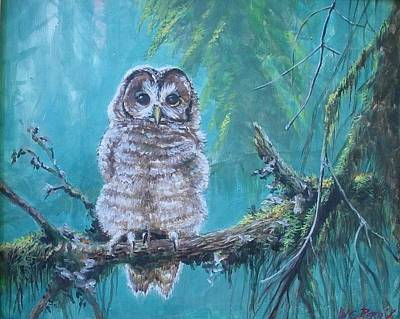 Painting - Owl In The Woods by Perrys Fine Art