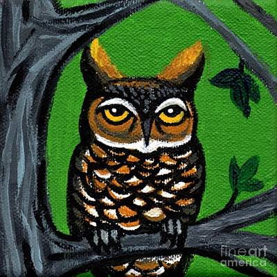 Owl In Tree With Green Background Original by Genevieve Esson