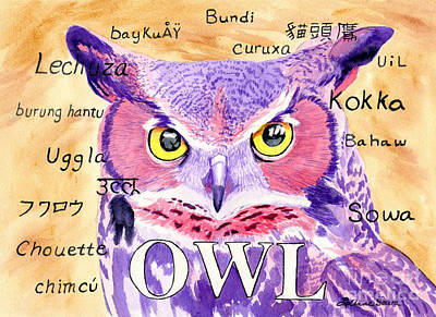 Painting - Owl Language by LeAnne Sowa