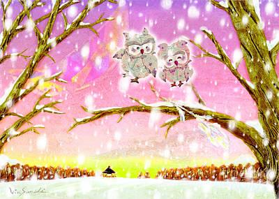 Illustration Painting - Owl Leaf 2 Snow Love by Vin Kitayama