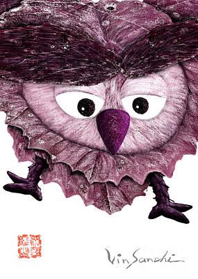 Owl Painting - Owl Leaf 3 Espresso by Vin Kitayama