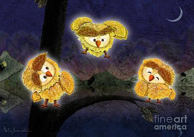 Children Painting - Owl Leaf Dark Lake by Vin Kitayama