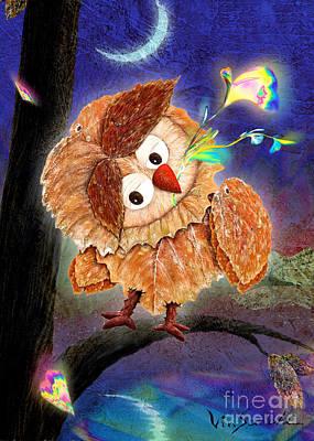 Fall Painting - Owl Leaf Night by Vin Kitayama