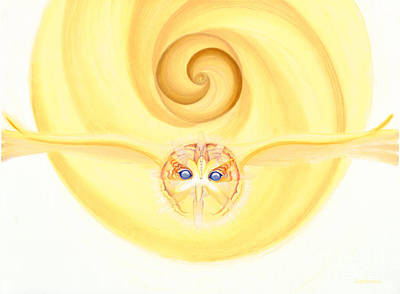 Animals Drawings - Owl Looking Into the Divine by Robin Aisha Landsong
