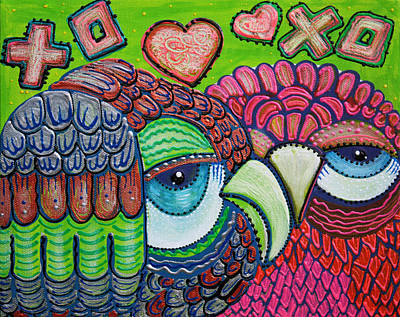 Birds Of Prey Painting - Owl Love by Laura Barbosa