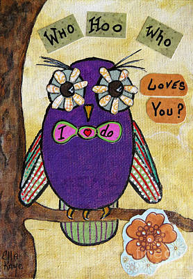 Fantasy Tree Mixed Media - Owl Love Story - Whimsical Collage by Ella Kaye Dickey
