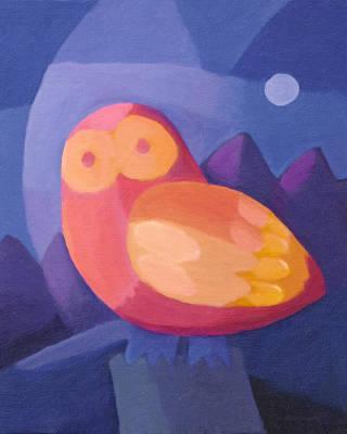 Childrens Room Painting - Owl by Lutz Baar