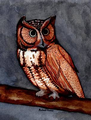 Animals Paintings - Eastern Screech Owl by Michael Panno