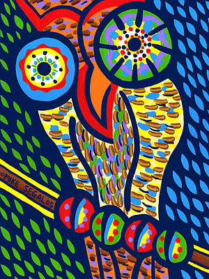 Painting - Owl by Mike Segal